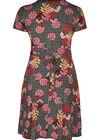Mit tropischen Blumen bedrucktes Kleid, Schwarz