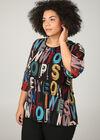 Bluse mit Buchstaben-Print, Multicolor