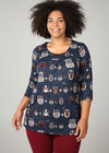 Tunika-T-Shirt aus warmem Material mit Eulen-Aufdruck, Marine