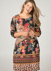 Kleid in Wildleder-Optik mit Tierfell-Druck, Multicolor