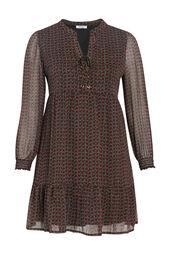 Kleid mit Volants und Ethno-Print