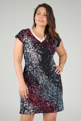 Mit Kreisen bedrucktes Kleid mit V-Ausschnitt und Lurex-Detail, Pflaume
