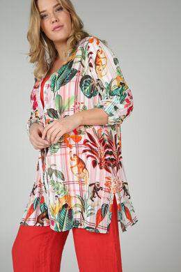 Mit Affen bedruckte Bluse, Multicolor