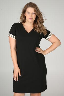 Kleid aus Krepp mit Lurex-Streifen, Schwarz
