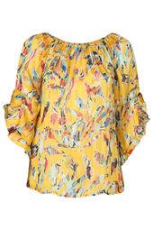 Bluse mit elastischem Ausschnitt und bunten Blattmuster-Print