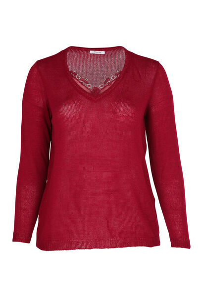 Pullover mit V-Ausschnitt und Spitze - Bordeaux