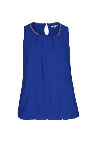 Ärmellose Bluse mit Perlen am Ausschnitt - Blau Bic