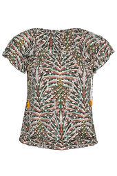 Mit Blättern bedrucktes T-Shirt aus kühlem Material
