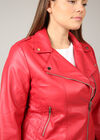 Biker-Jacke aus Kunstleder, Rot