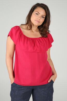 T-shirt mit elastischem Ausschnitt, Fuchsie