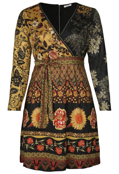 Bedrucktes Kleid aus Wildlederimitat - ocker