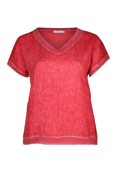 T-Shirt, vorne Leinen, hinten Jersey - Orange