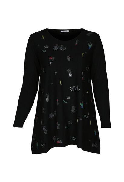 Tunika-Pullover mit Aufdruck - Schwarz