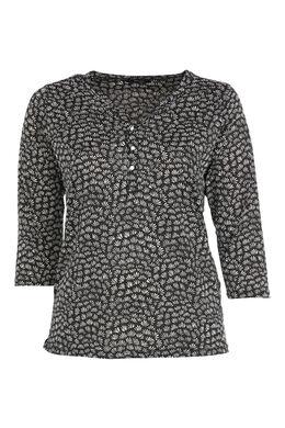 Bedruckte Bluse mit Tunika-Kragen, Schwarz