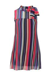 Kleid aus plissiertem Voile in mehrfarbiger Gestaltung.