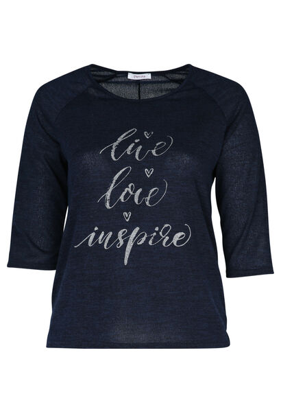 """T-Shirt mit Aufdruck """"Live, love, inspire"""" - Marine"""