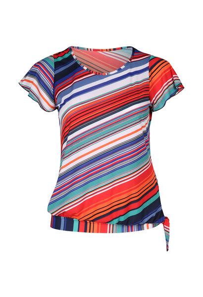 T-Shirt mit Streifenaufdruck - Multicolor