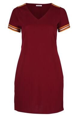 Kleid aus Krepp mit Lurex-Streifen, Bordeaux