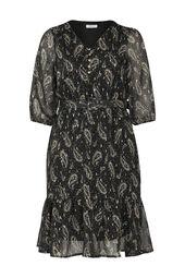 Kleid aus Voile mit Paisley-Print und Gürtel