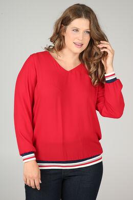 Bluse aus Voile mit Lurex-Streifen, Rot