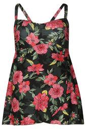 Badekleid mit Aufdruck im Blumen-Print