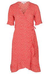 Kleid mit Wickeleffekt und Herzchen-Print