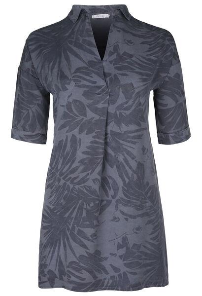 Tunika-Kleid aus Lyocell mit tropischem Print - Marine