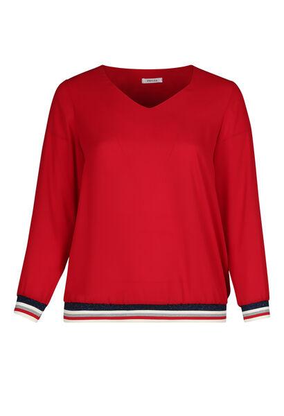 Bluse aus Voile mit Lurex-Streifen - Rot