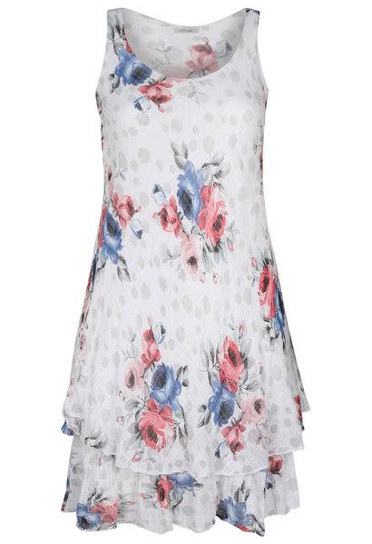 Langes Leinenkleid mit Blumen- und Tupfen-Print - weiß