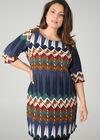Kleid in entspannter Passform mit Ethno-Print, Multicolor