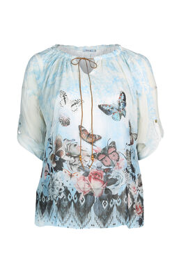 Mit Schmetterlingen bedruckte Bluse , Himmel