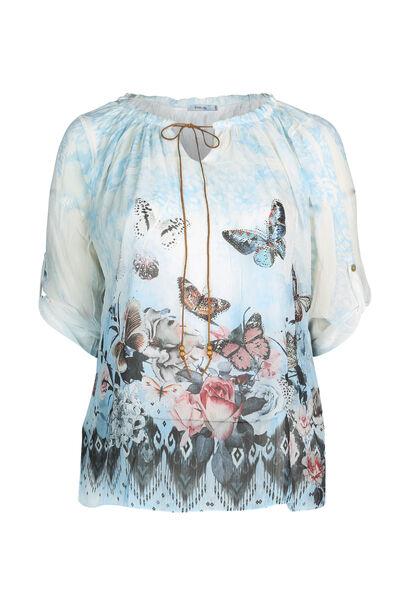 Mit Schmetterlingen bedruckte Bluse  - Himmel