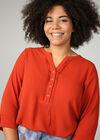 Einfarbige Bluse mit Knöpfen am Ausschnitt, Orange