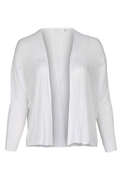 Cardigan mit strukturierten Linien - weiß