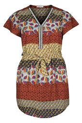 Tunika-Kleid mit Ethno-Print