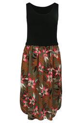 Mit tropischen Blumen bedrucktes langes Kleid