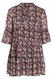 Kleid mit Volants und Blumendruck