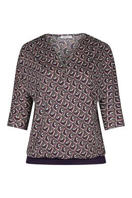 T-Shirt mit Mosaik-Druck und Reißverschluss am Ausschnitt, Lila