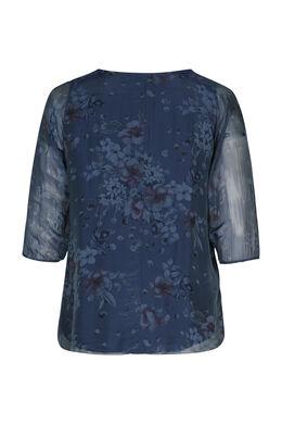 Bluse mit Blumen- und Pünktchendruck, Indigo