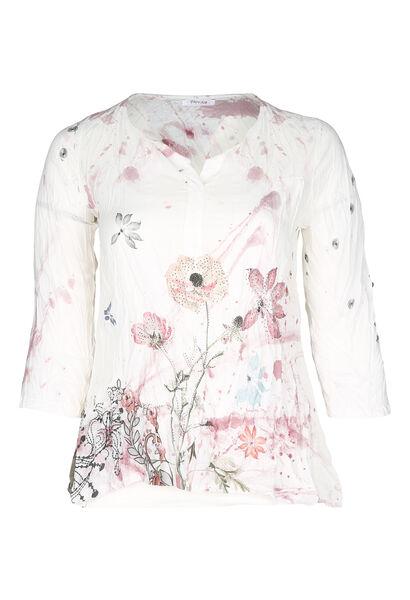 Bedruckte Voile-Bluse - Rosa