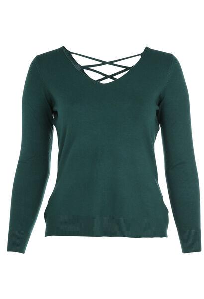 Pullover mit Gitterrückenausschnitt - Grün