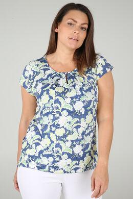 T-Shirt aus kühlem Material mit Blumen und Blättern im Relief-Druck, Olive
