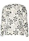 Pullover mit Blumendruck und Strass, naturfarben