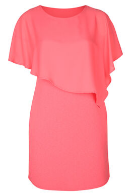 Kleid mit Oberteil aus Voile, Koralle