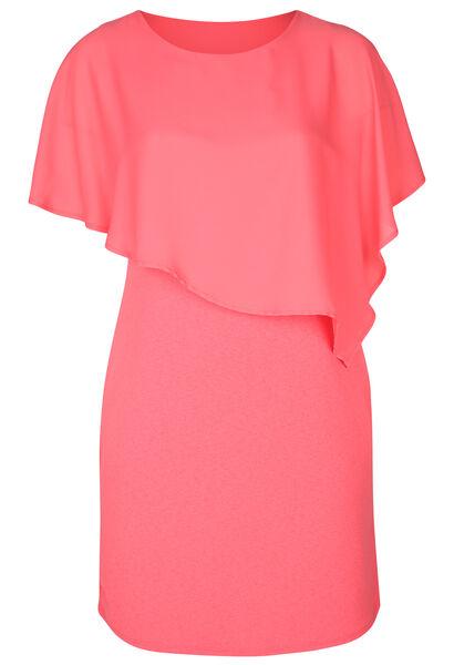 Kleid mit Oberteil aus Voile - Koralle