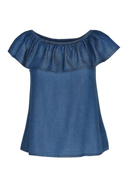 T-shirt aus Lyocell-Jeans mit elastischem Ausschnitt - Denim