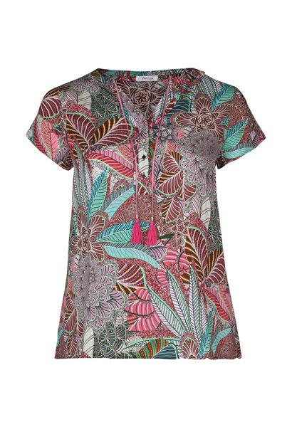 Im Blattmuster-Print bedruckte Bluse mit Bindebändern mit Quasten - Multicolor