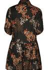 Kleid mit Blumen-Print und Streifen, Schwarz