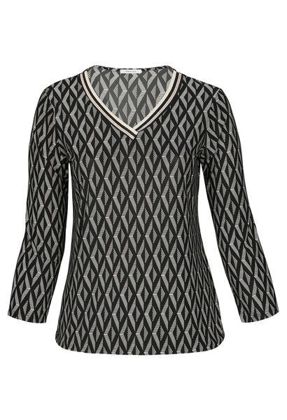 T-Shirt mit geometrischem Aufdruck und Lurex-Streifen - Schwarz