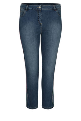 7/8-Jeans mit Lurex-Streifen, Denim